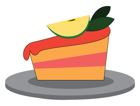 A two layer celebration cake with pink frosting and cherries on the top vector color drawing or illustration