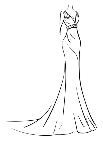 Simple sketch of a long evening dress vector illustration on white background