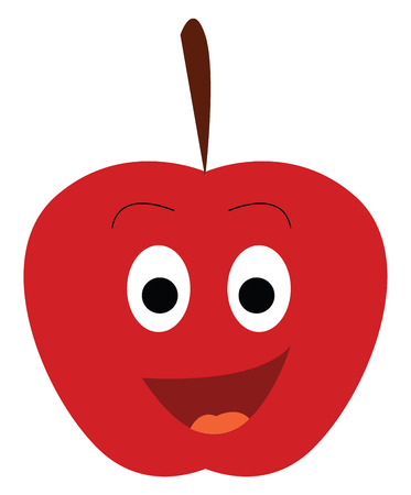 A smiling red apple is very happy vector color drawing or illustration Иллюстрация
