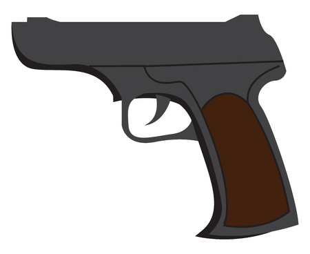 A fire arm with bullet called pistol in black and brown color vector color drawing or illustration Imagens - 123452614
