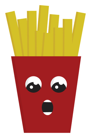 Red suprissed french fries box vector illustration on white background Imagens - 123452618