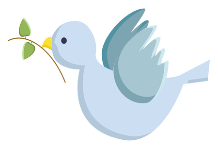 A blue bird with green small olive branch in the mouth vector color drawing or illustration