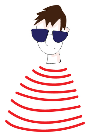 Abstract portrait of a boy in red and white striped t-shirt and sunglasses vector illustration on white background