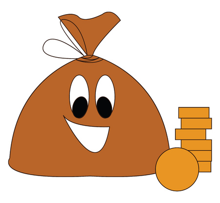 Brown smiling moneybag with golden coins vector illustration on white background