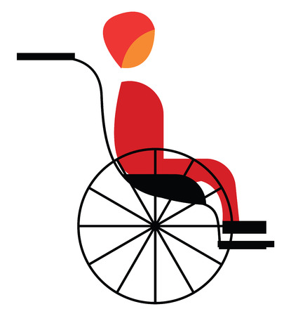 Clipart of an disabled man sitting on wheel chair vector color drawing or illustration