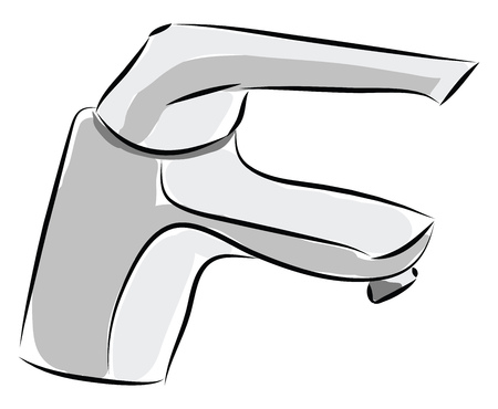 Simple vector illustration of a silver faucet on white background