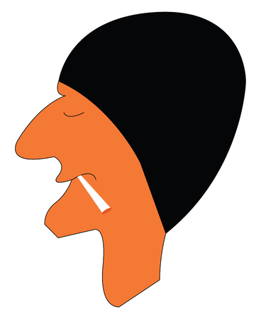 Young boy wearing black head cap is smoking cigarette vector color drawing or illustration