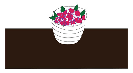 Simple picture of a flower pot with pink flowers on a brown table vector illustration on white background Illustration