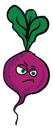 Angry purple beet illustration color vector on white background Illustration