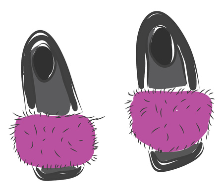 Grey and pink fluffy slippers vector illustration on white background