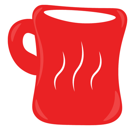 A red coffee mug with beautiful line design in front vector color drawing or illustration