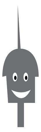 Head of a steel metal robot with long antenna over the top vector color drawing or illustration Ilustrace
