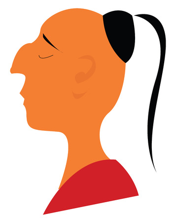 A Hindu monk with its tuft of hair on an otherwise shaven head vector color drawing or illustration Illustration