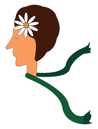 Profile of a girl with a green scarf and a flower in her hair vector illustration on white background