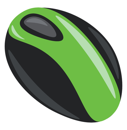 A wireless computer mouse in green and black color vector color drawing or illustration 向量圖像
