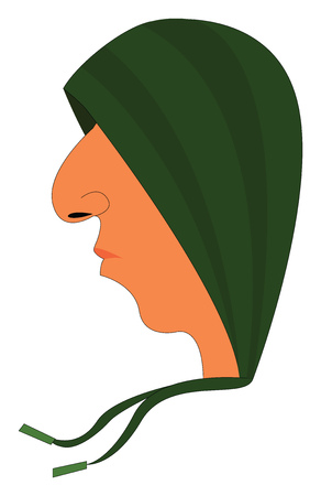 Profile picture of an young man wearing a green hood vector illustration on white background