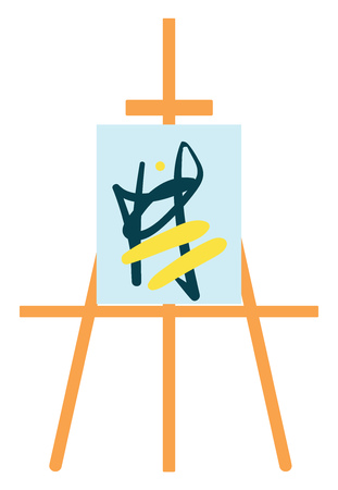 Painting stand easel with abstract painting color vector on white background Vectores