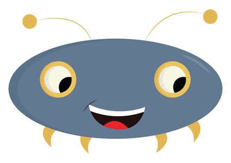 Blue and yellow monster looking down illustration color vector on white background