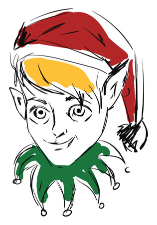 Simple sketch of an elf with red cap blonde hair and green collar vector illustration on white background Stock Illustratie