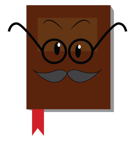 Brown book with mustache and glasses illustration print vector on white background