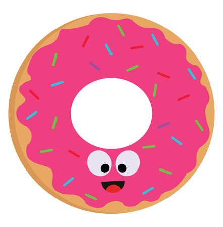 Vector illustration of a smiling pink donut with colorful sprinkles on white background