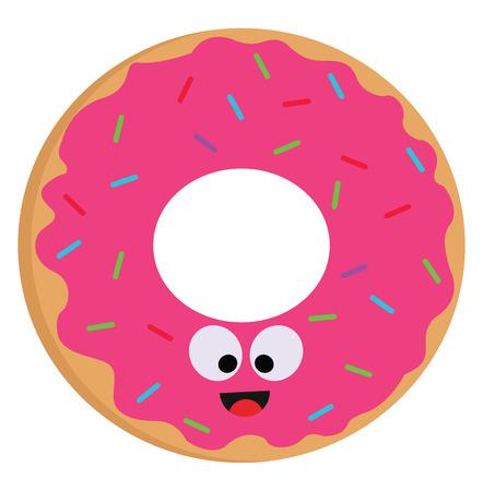 Vektor-Illustration eines lächelnden rosa Donuts mit bunten Streuseln auf weißem Hintergrund