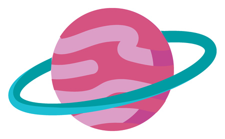 Clipart of a planet with a ring surrounding it vector color drawing or illustration