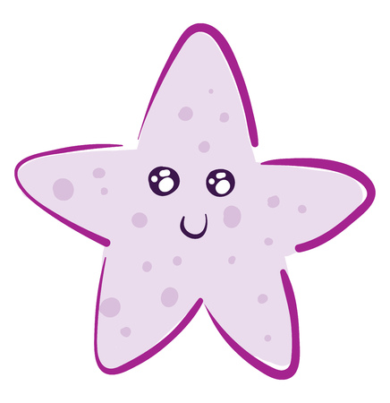 Cute smiling pink starfish vector illustration on white background
