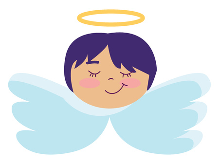 Angel with short blue hair illustration color vector on white background