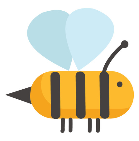 Simple sketch of a bee color vector on white background