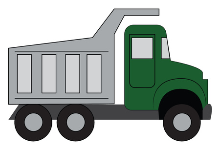 Simple vector illustration of a green truck white background