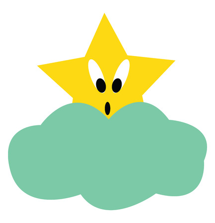 A surprised star is looking out of blue clouds vector color drawing or illustration Vettoriali