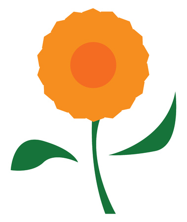 A beautiful orange flower with two leafs and stem vector color drawing or illustration Иллюстрация