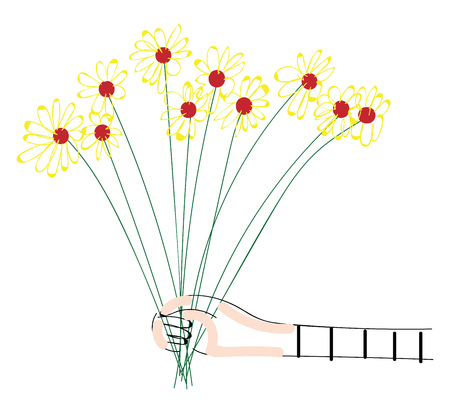 Abstract picture of a hand holding a bouquet of yellow flowers vector illustration on white background
