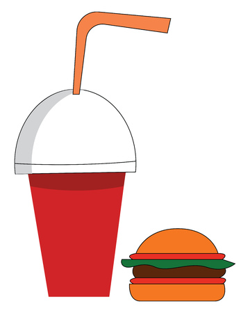 Soda cup and burger vector illustration on white background Illustration