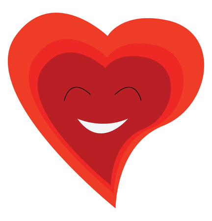 A happy face of red heart depicting love vector color drawing or illustration
