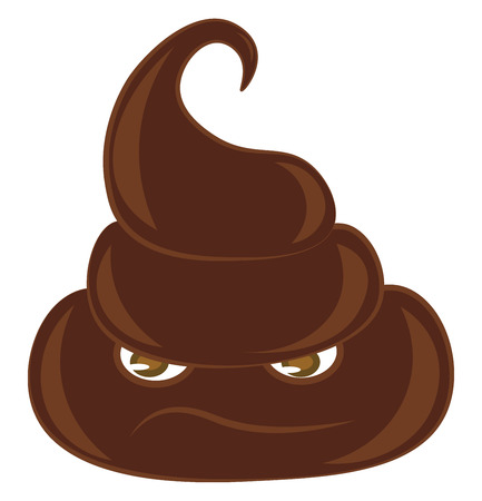 A pile of brown poop with sad face vector color drawing or illustration Illustration