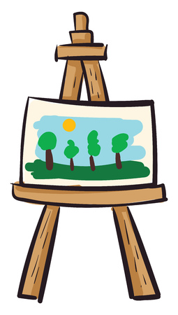Easel with canvas vector illustration on white background