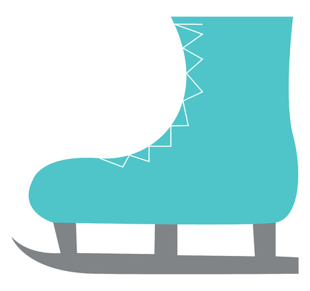 A beautiful blue skating boot with lace designing vector color drawing or illustration Çizim