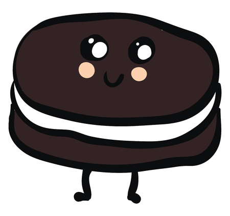 Cute smiling brown and white oreo vector illustration on white background