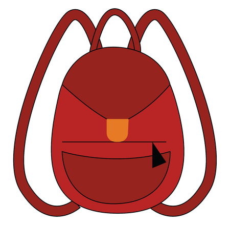Red backpack for school illustration print vector on white background