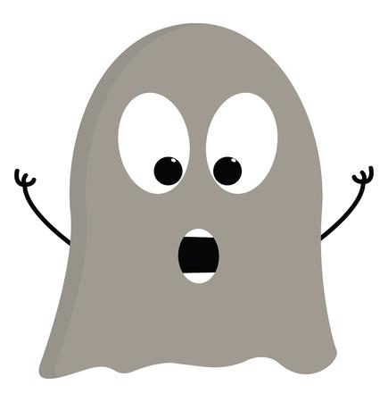 Light grey scarry ghost vector illustration on white background Ilustração