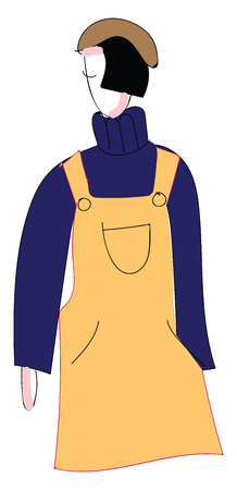 Abstract portrait of a girl in yellow overalls purple turtleneck and brown hat  vector illustration on white background Çizim