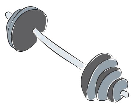 Grey dumbbell vector illustration on white background