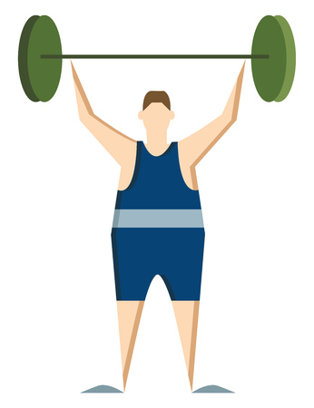 A athletic man wearing blue jersey is lifting heavy weight vector color drawing or illustration