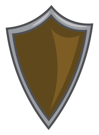 A brown shield symbolizing the protection or safeguarding vector color drawing or illustration