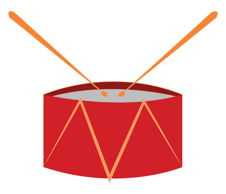 Red toy drum vector illustration on white background