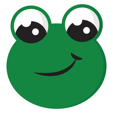 Smiling green frog vector illustration on white background Illustration