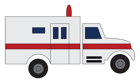 Ambulance car driving to hospital illustration print vector on white background Çizim