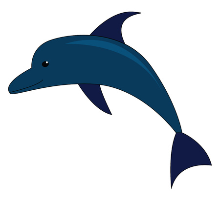 Vector illustration of a blue dolphin on white background 일러스트